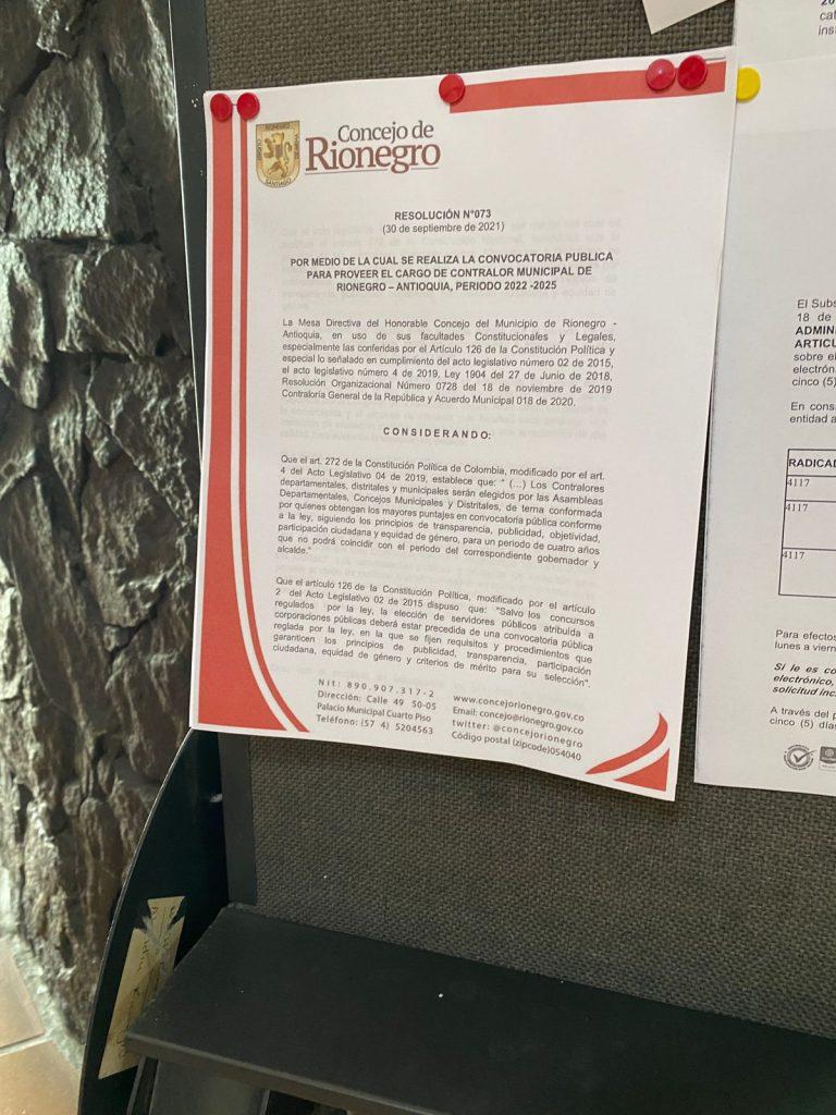 El Concejo de Rionegro inicia el calendario para proveer el cargo de Contralor Municipal 2022 - 2025